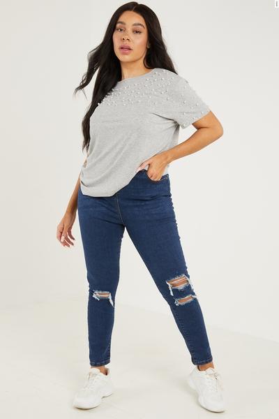 Curve Blue Denim High Waist Skinny Jeans